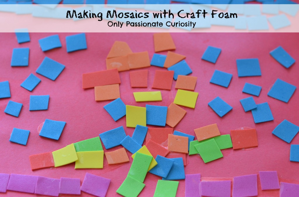 Making mosaics with craft foam