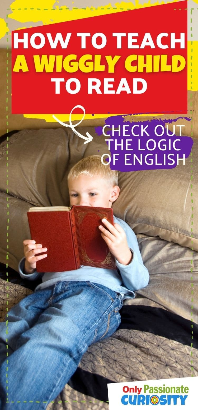 Teaching a wiggly child to read is such hard work. The Logic of English Foundations will help you to teach your kinaesthetic child reading with a strong foundation. Check out the fun activities to teach reading for the child who cannot sit still. #Homeschool #Reading #Kindergarten