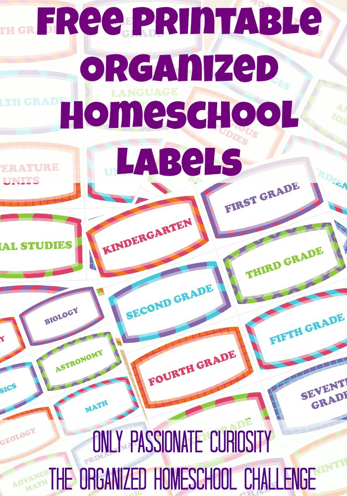 Free Printable Labels to help you get organized- the organized homeschool challenge