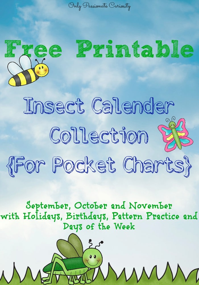 Free printable insect calender cards- Cute!