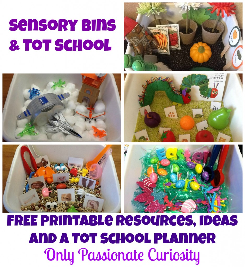 Free printable tot school sensory bin planning resources