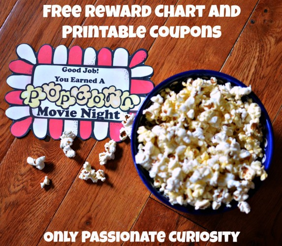 Free popcorn themed reward chart and printable coupons