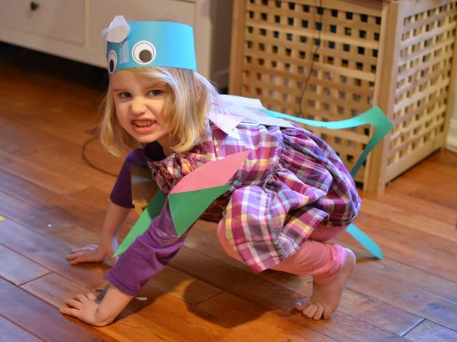 pretending to be dinosaurs