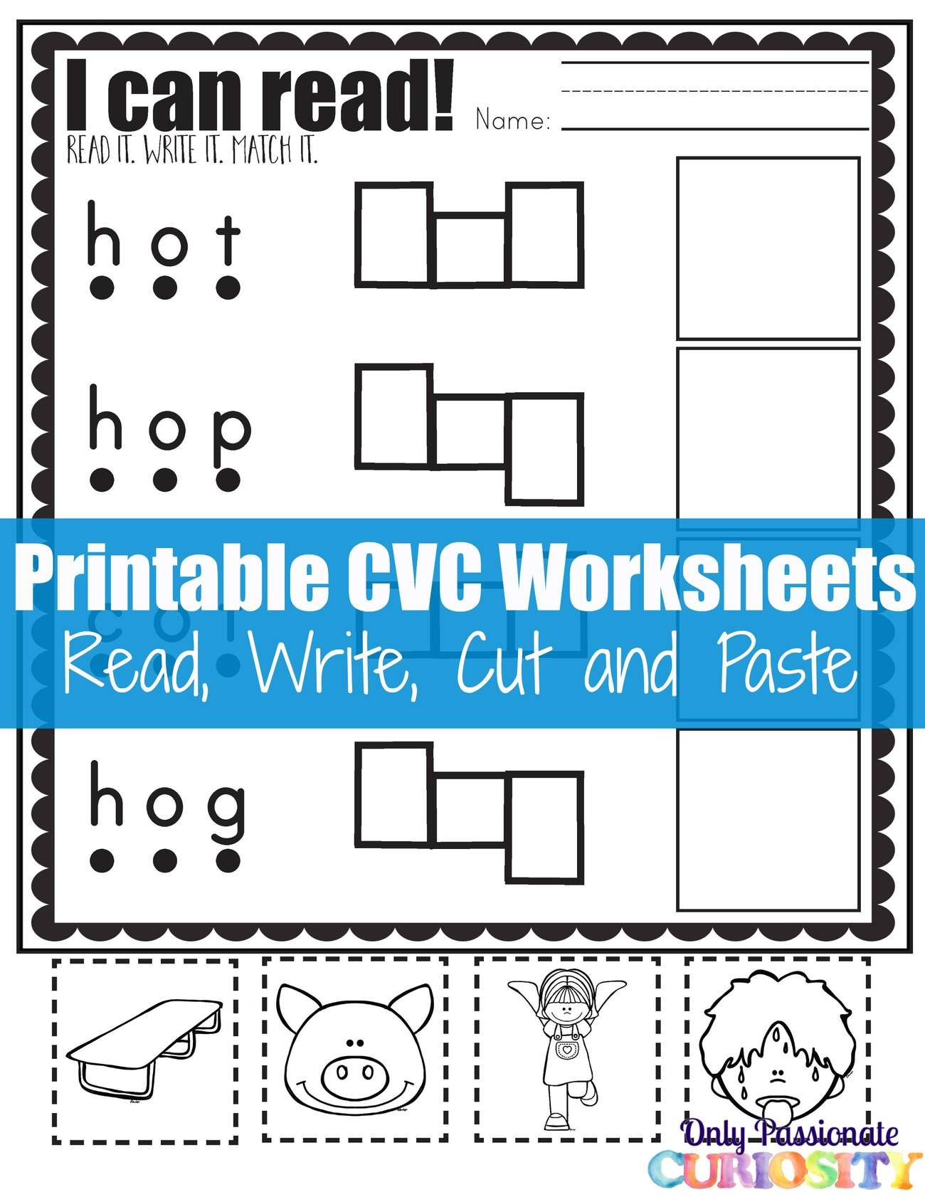 FREE CVC Words Worksheets: No Prep Write Cut and Paste Activity | TpT