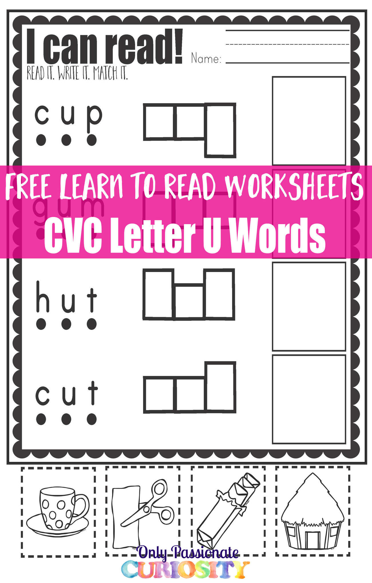 - Learn To Read Worksheets: Practice With CVC U Words - Only