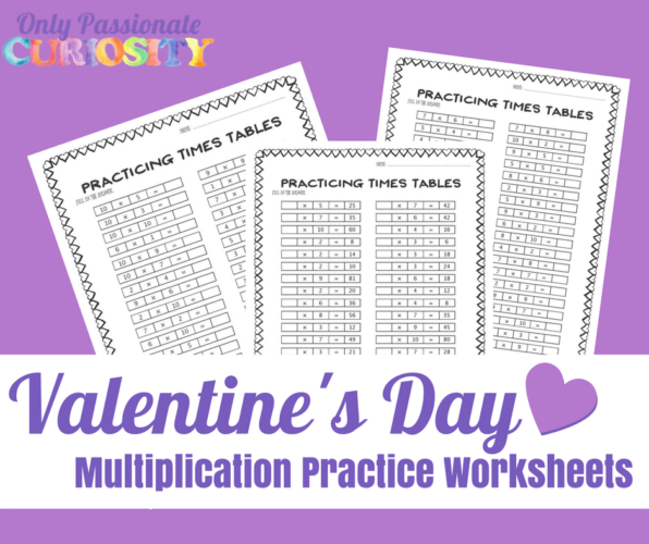 Valentine's Day Multiplication Practice Worksheets FP