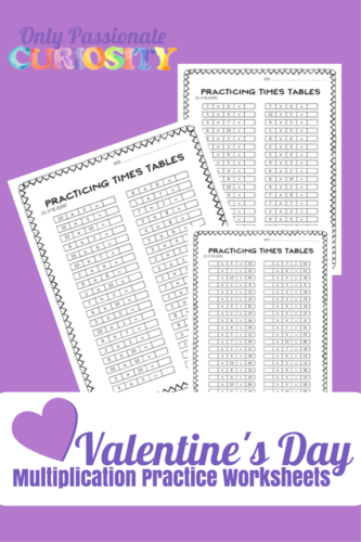 Valentine's Day Multiplication Practice Worksheets PG