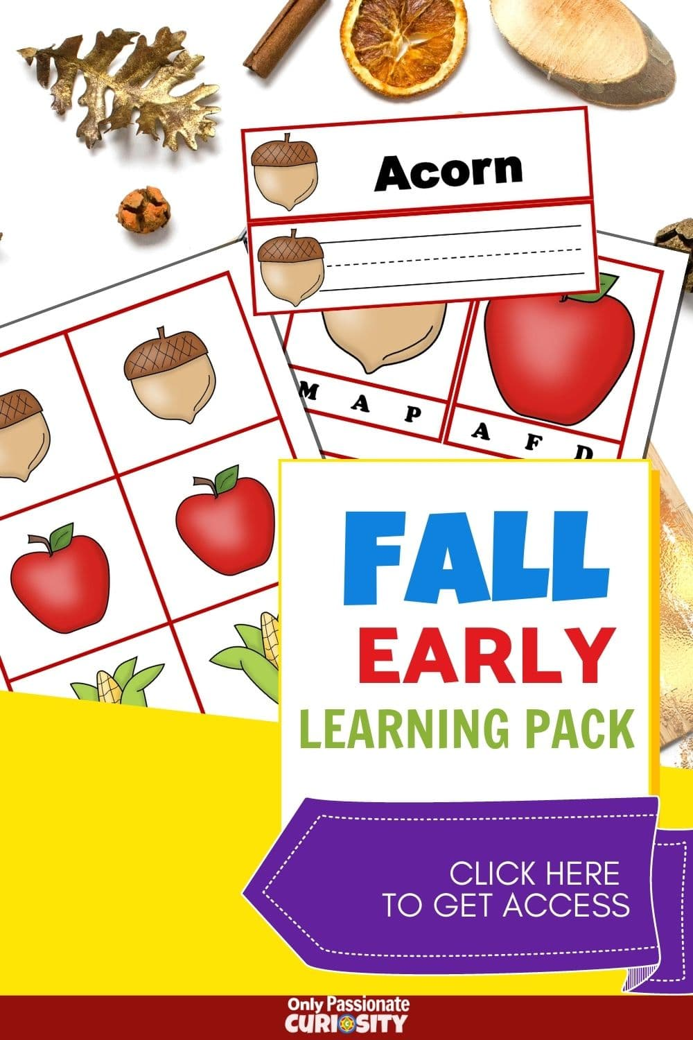 If you're looking for a fun printable fall early learning pack for your kiddos, we think you'll love this one! It includes a fall words wall, some first sound cards, writing strips, and a matching game for fall too!