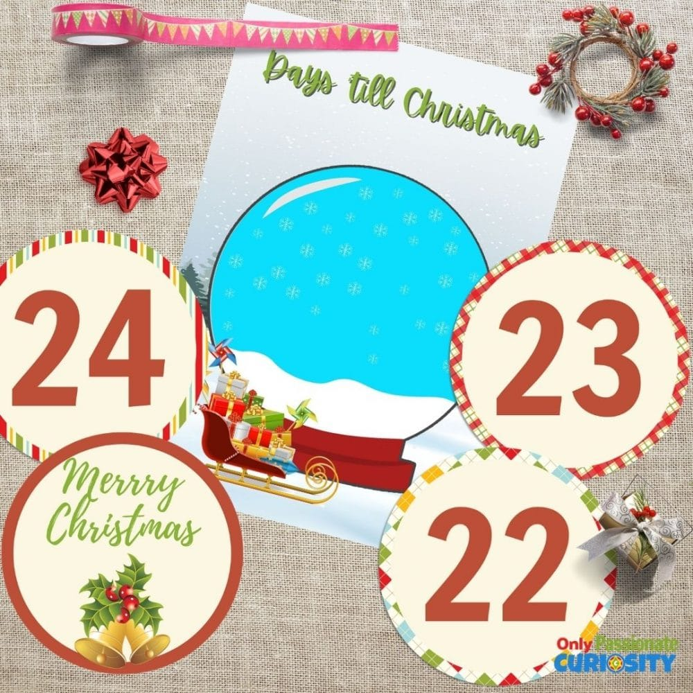 snow globe Christmas countdown printable design 2