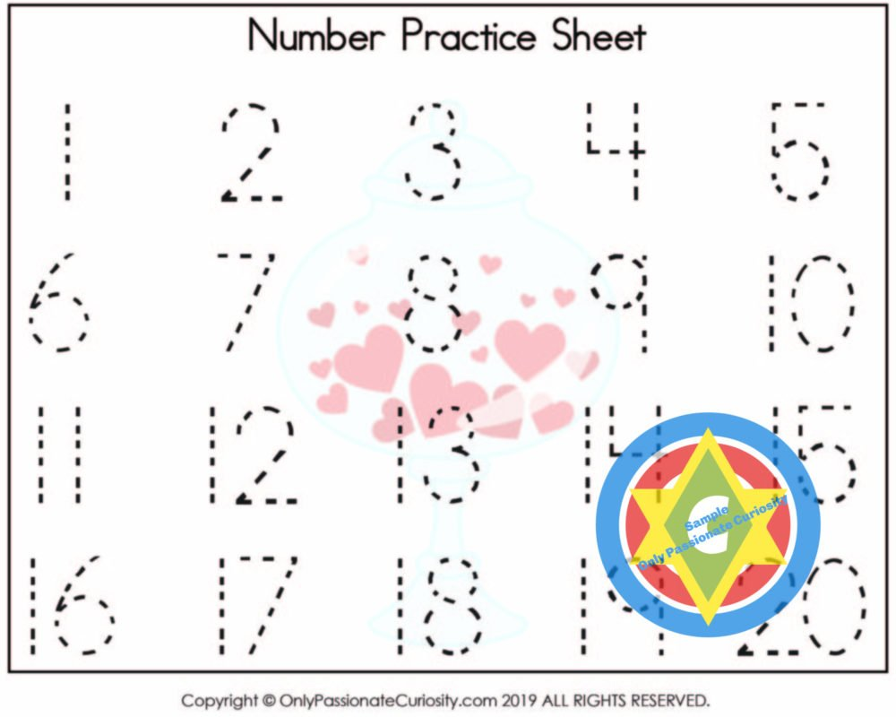 worksheet for practicing writing numbers 1-20
