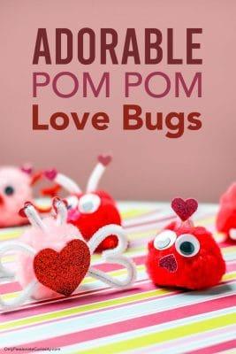 adorable pom pom love bugs for Valentine's Day