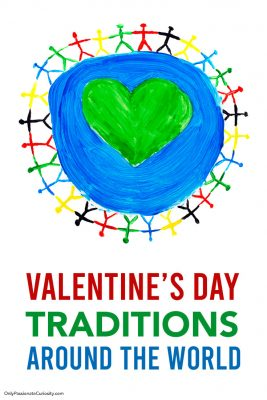 children surrounding the world for Valentines' Day