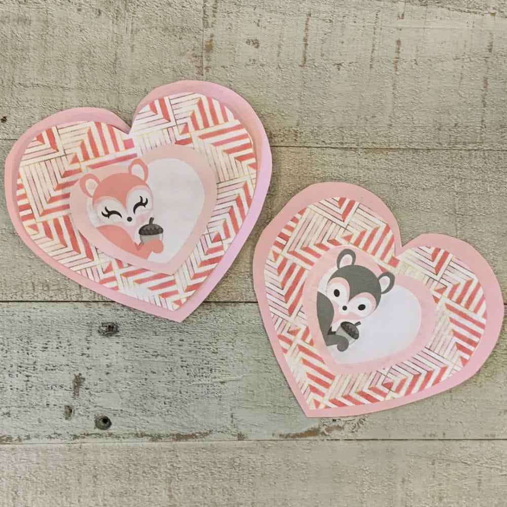 finished girl and boy woodland animals valentines