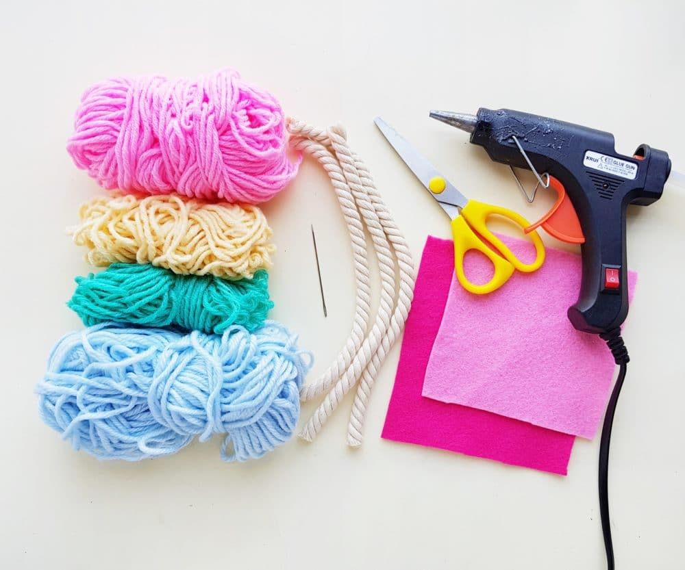 supplies for macrame rainbow craft