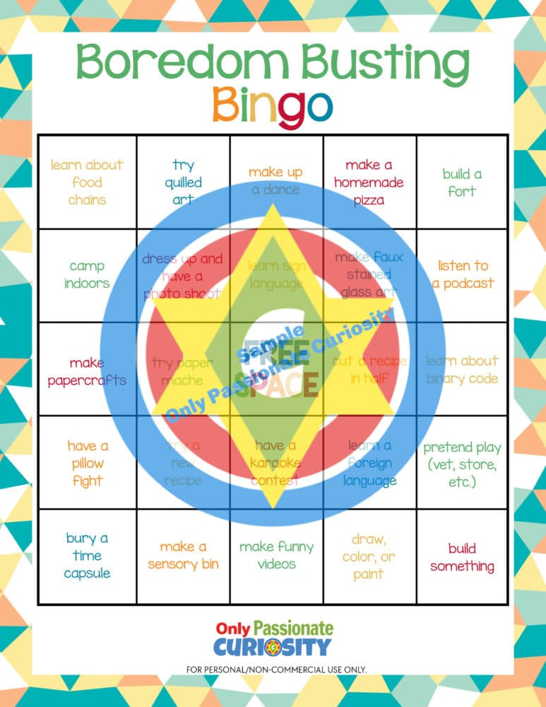 sample page of Boredom Busting Bingo game