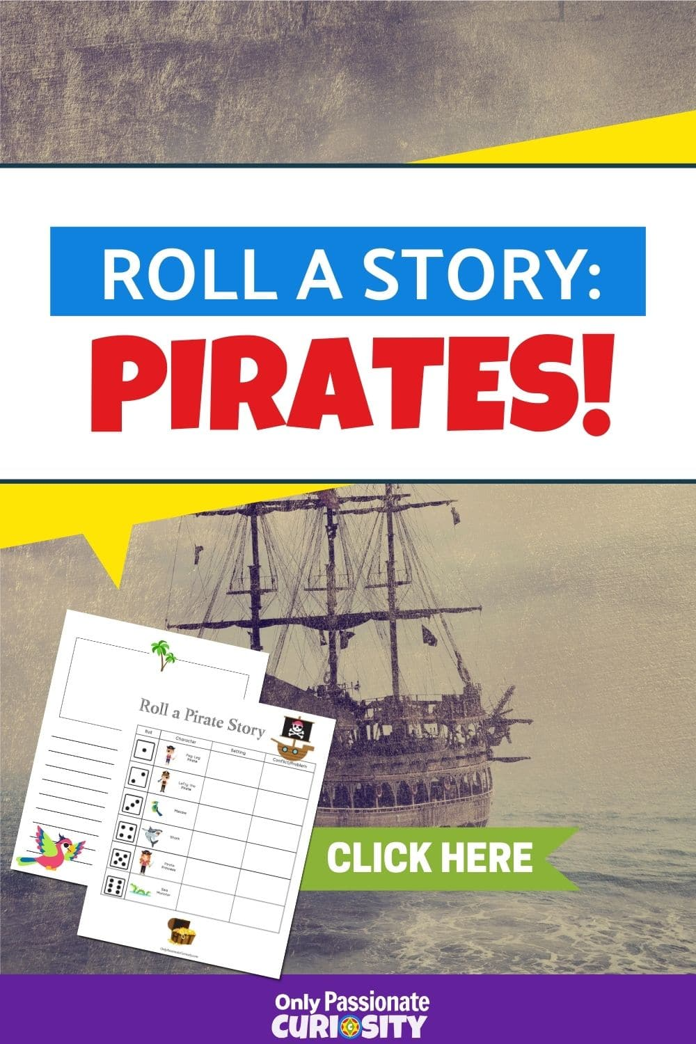 Celebrate Talk Like a Pirate Day (or any day!) with this fun roll-a-story activity! It's a perfect way to sneak in some creative writing with your kids!