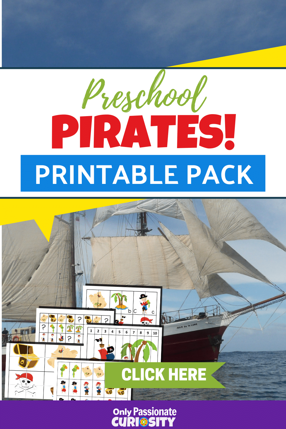 Got little pirates at your house? This fun printable pack is for them! It includes 20 activity pages with activities such as number sequencing, matching pictures, simple puzzles, tracing lines, patterns, ordering sizes, matching uppercase and lowercase letters, coloring pages, number recognition and 1:1 ratio, and even a pirate-themed tic-tac-toe game!