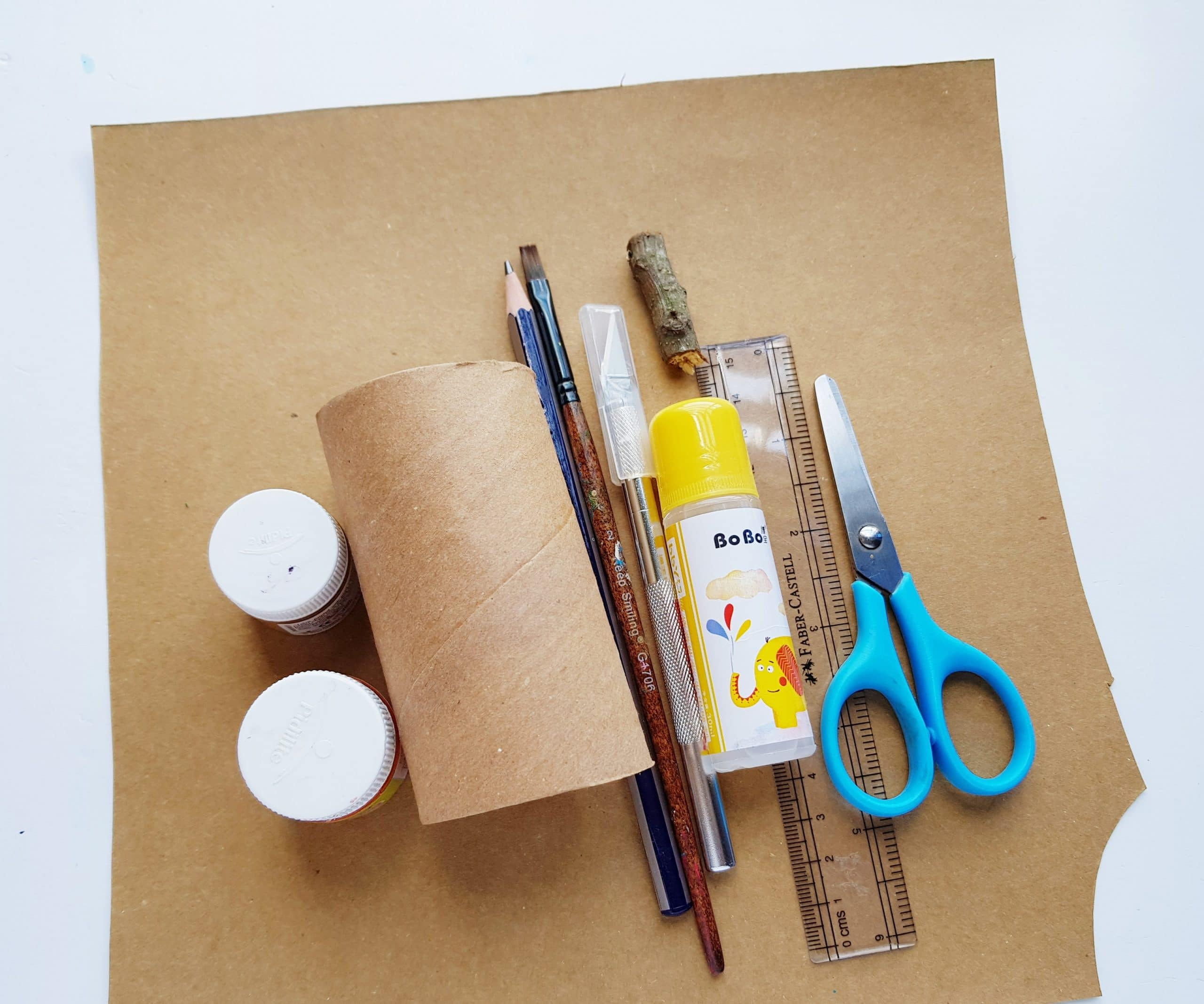 supplies to make toilet paper tube pumpkin box