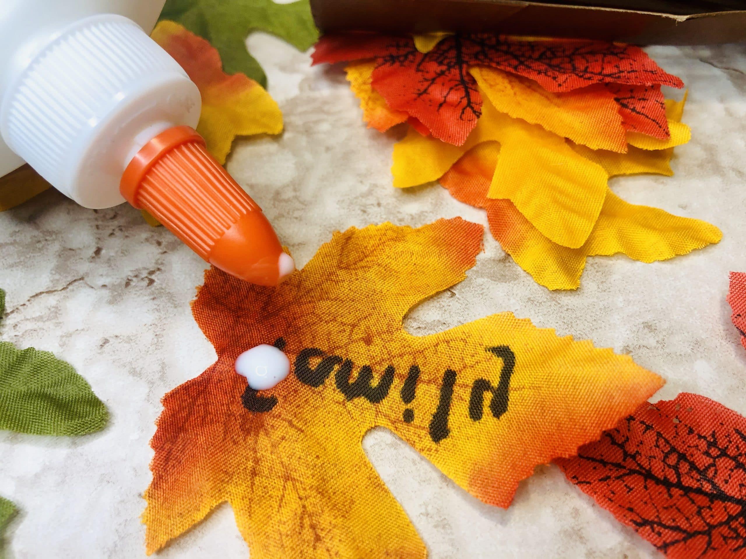 put glue on thankful tree leaves