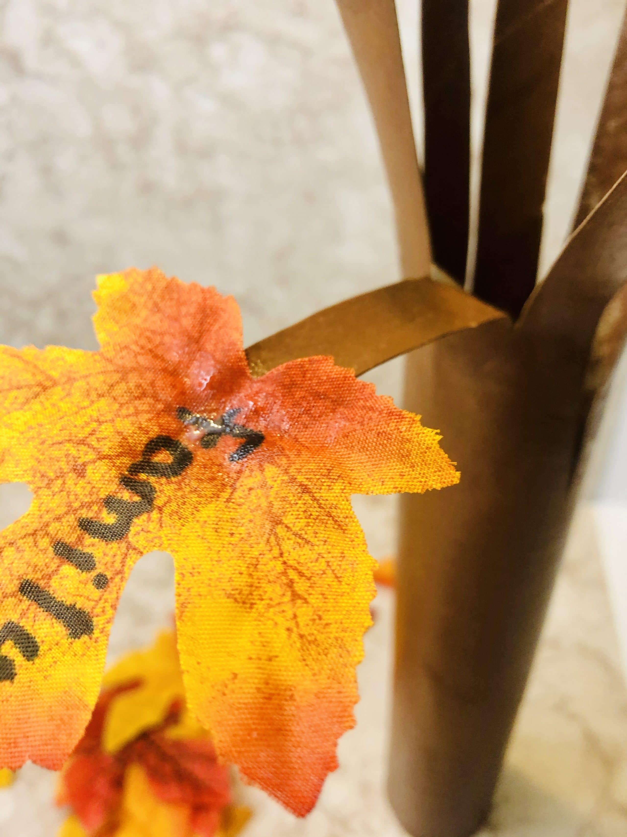 glue leaves onto thankful tree