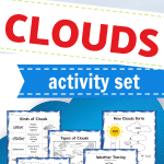 This printable Clouds Activity Set has 7 pages of interactive learning to teach kids all about different types of clouds and how they form!