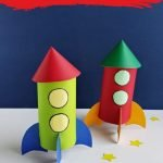 This craft uses materials you likely have at home (including a toilet paper roll) to create a rocket: great for all ages!