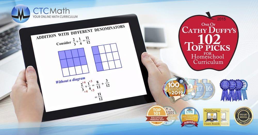screenshot of CTCMath on tablet