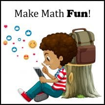 child enjoying math on tablet
