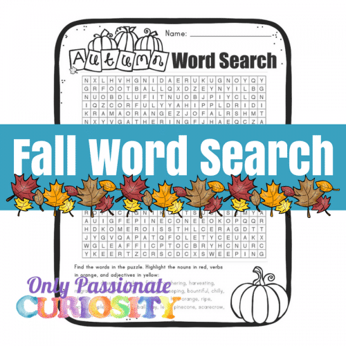 fall parts of speech word search